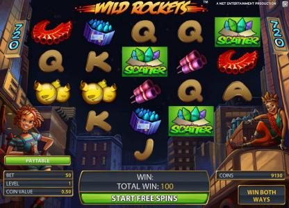 Wild Rockets :: free spins bonus feature game board