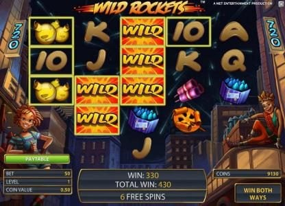 Wild Rockets :: 330 coin jackpot triggered once again by expanding wilds, only this time during the free spins feature