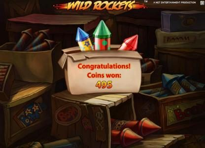 Wild Rockets :: the free spins feature pays out a total of 495 coins