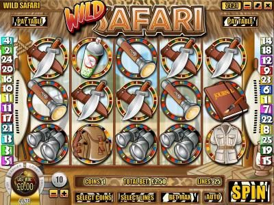 Play slots at Ignition: Ignition featuring the Video Slots Wild Safari with a maximum payout of $12,500