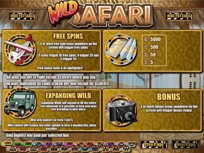 Spartan Slots featuring the Video Slots Wild Safari with a maximum payout of $12,500