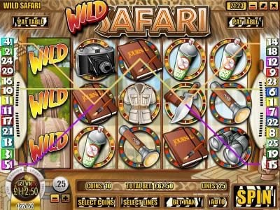 Winbig21 featuring the Video Slots Wild Safari with a maximum payout of $12,500
