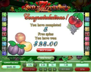 Vive Mon Casino featuring the Video Slots Wild Sevens 5 Lines with a maximum payout of $30,000