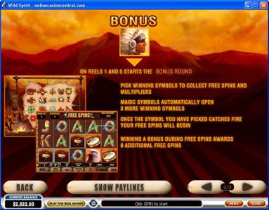 21 Nova featuring the Video Slots Wild Spirit with a maximum payout of $250,000