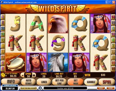 Class 1 Casino featuring the Video Slots Wild Spirit with a maximum payout of $250,000