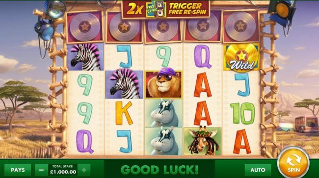 Main game board based on an African safari theme, featuring five reels and 40 paylines with a $100,000 max payout