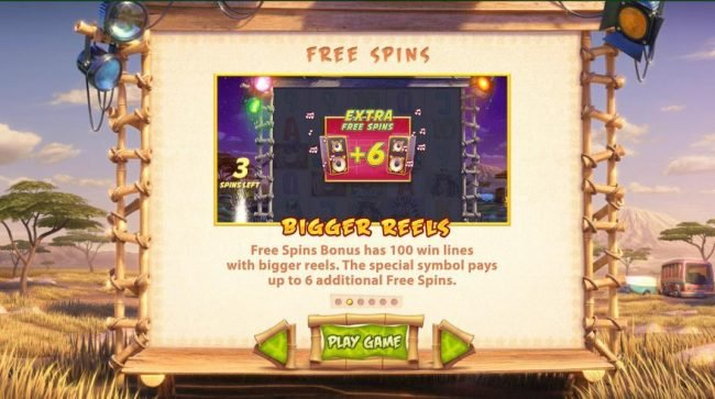 Wild Stars :: Free Spins bonus has 100 win lines with bigger reels. The special symbol pays up to 6 additional free spins.