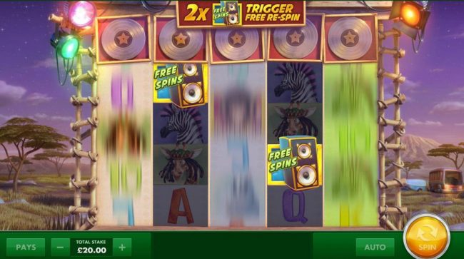 Wild Stars :: When two free spins scatter symbols land on reels, the remaining reels are spun one time for a chance to land a winning combination.