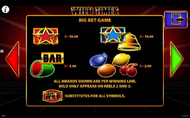 Casino Room featuring the Video Slots Wild Times with a maximum payout of $250,000