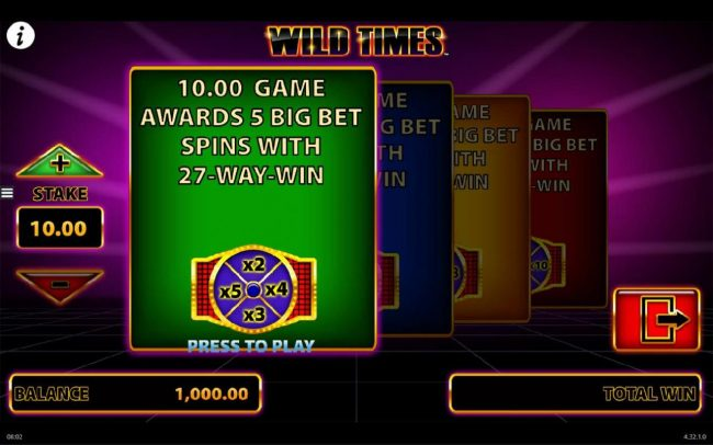 Play slots at Casino Room: Casino Room featuring the Video Slots Wild Times with a maximum payout of $250,000