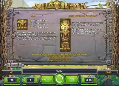Wild Wild Bet featuring the Video Slots Wild Turkey with a maximum payout of $20,000