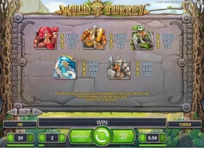 Clover Casino featuring the Video Slots Wild Turkey with a maximum payout of $20,000
