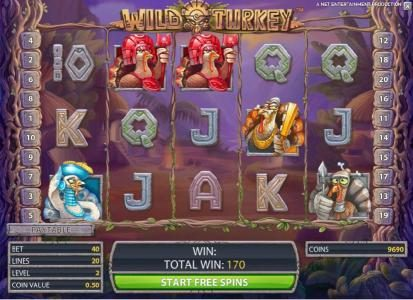 Play slots at All British: All British featuring the Video Slots Wild Turkey with a maximum payout of $20,000