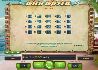 Argo featuring the Video Slots Wild Water with a maximum payout of $0
