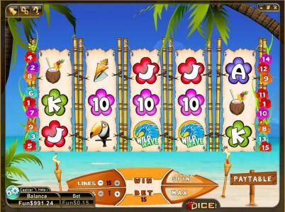 3Dice featuring the Video Slots Wild Waves with a maximum payout of $600