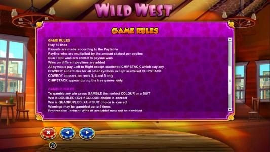 General game rules and gamble feature rules