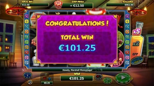 The free games feature pays out a total of €101.25 for a big win.