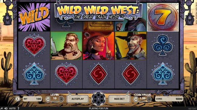 Play slots at iLucky: iLucky featuring the Video Slots Wild Wild West The Great Train Heist with a maximum payout of $100,000