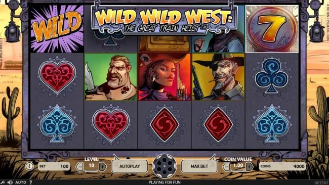 Casino Red Kings featuring the Video Slots Wild Wild West The Great Train Heist with a maximum payout of $100,000