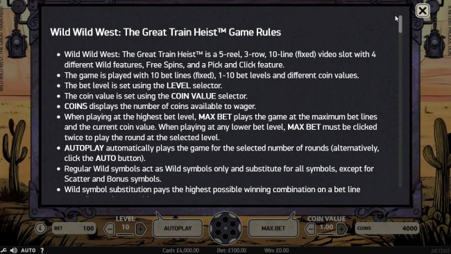 Touch Lucky featuring the Video Slots Wild Wild West The Great Train Heist with a maximum payout of $100,000