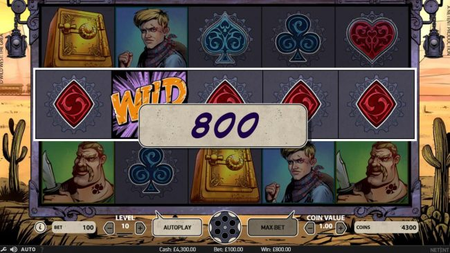 Winzino featuring the Video Slots Wild Wild West The Great Train Heist with a maximum payout of $100,000