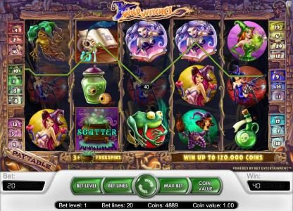 Wild Jackpots featuring the Video Slots Wild Witches with a maximum payout of $40,000