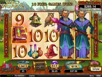 Cherry Jackpot featuring the Video Slots Wild Wizards with a maximum payout of $12,500