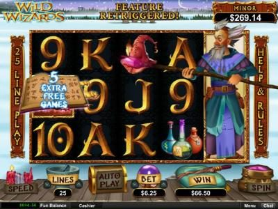 Casino Extreme featuring the Video Slots Wild Wizards with a maximum payout of $12,500