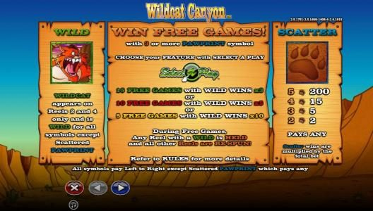 Casino Room featuring the Video Slots Wildcat Canyon with a maximum payout of $10,000