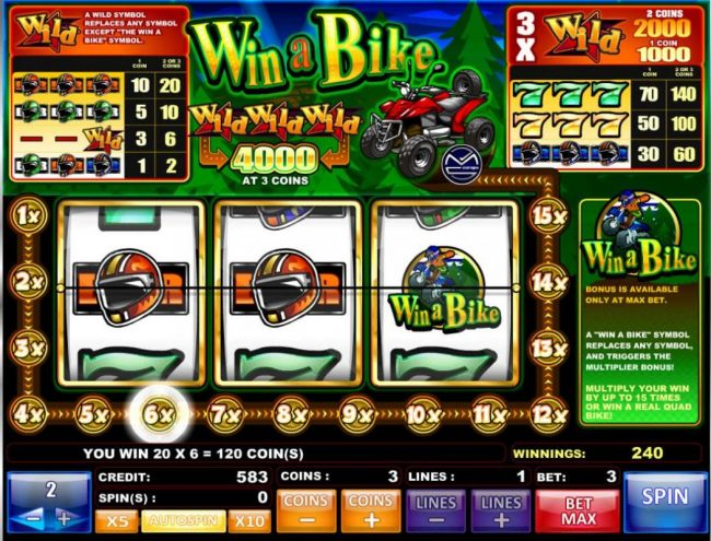Oshi featuring the Video Slots Win a Bike with a maximum payout of $20,000