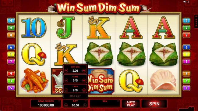Platinum Play featuring the Video Slots Win Sum Dim Sum with a maximum payout of $300,000