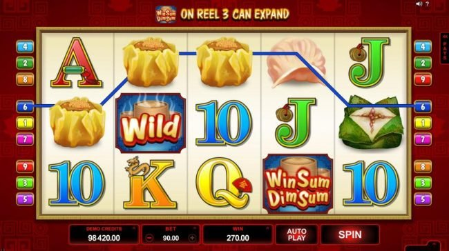 Wixstars featuring the Video Slots Win Sum Dim Sum with a maximum payout of $300,000