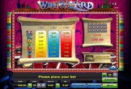 slot game sysmbols paytable