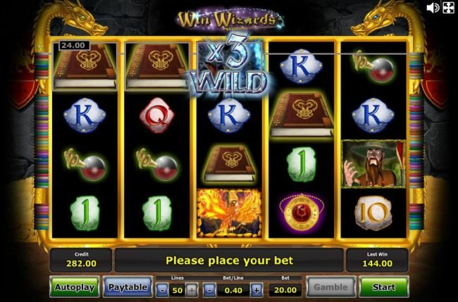 Pamper featuring the Video Slots Win Wizards with a maximum payout of $1,250,000