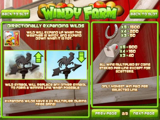 Bovada featuring the Video Slots Windy Farm with a maximum payout of $3,750