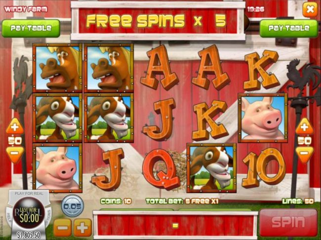 Casino Royal Club featuring the Video Slots Windy Farm with a maximum payout of $3,750