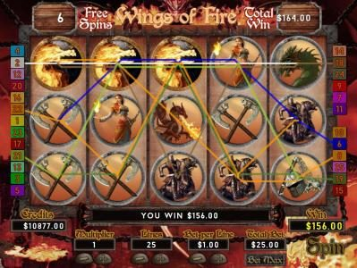 Multiple winning paylines triggers a $156 big win!