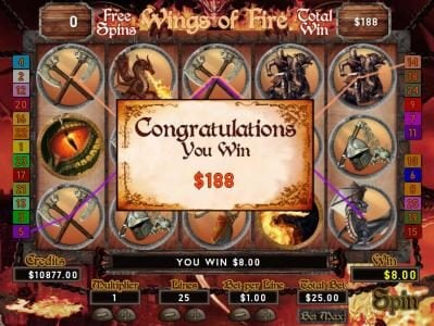 Free Spins feature pays out a $188 prize award.