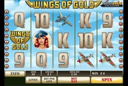 Play slots at Sky Kings: Sky Kings featuring the Video Slots Wings of Gold with a maximum payout of $25,000