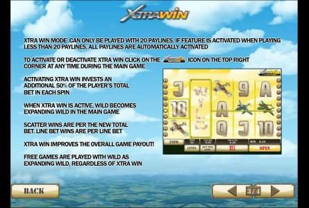 activating xtra win invests an additional 50% of the players total bet in each spin