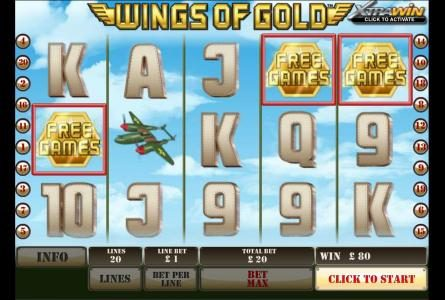 three wings of gold symbols triggers bonus round
