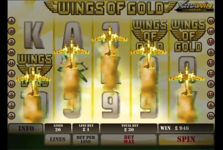 Casino Lucky Win featuring the Video Slots Wings of Gold with a maximum payout of $25,000