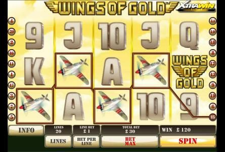 four spitfire symbols lead to a 120 credit jackpot
