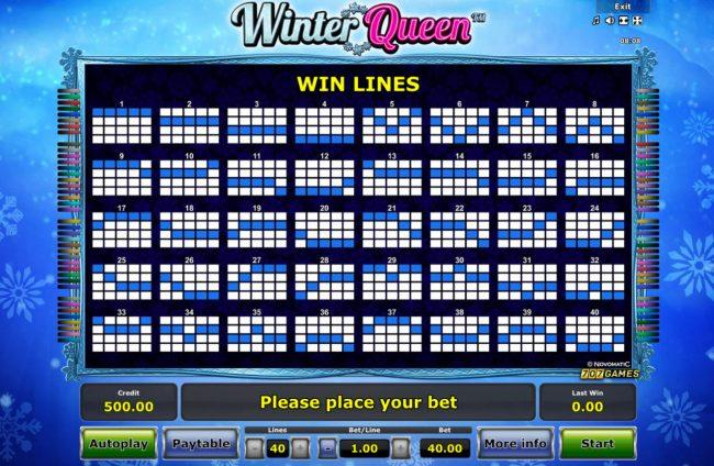 Winter Queen :: Paylines 1-40