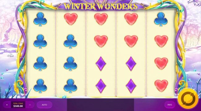 Winter Wonders :: Main game board featuring five reels and 40 paylines with a $8,750 max payout.