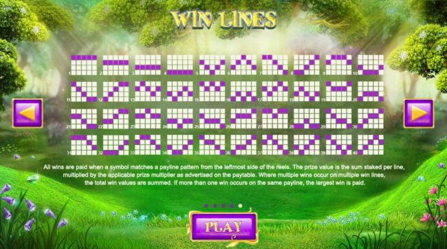 Winter Wonders :: Payline Diagrams 1-40. All wins are paid when a symbol matches a payline pattern from the leftmost side of the reels.