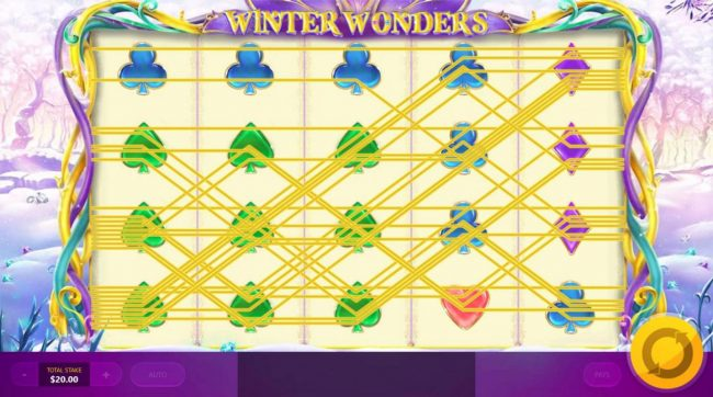 Winter Wonders :: Multiple winning paylines triggers a big win!
