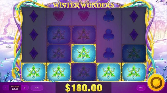 Winter Wonders :: A 180.00 big win triggered by multiple winning combinations.