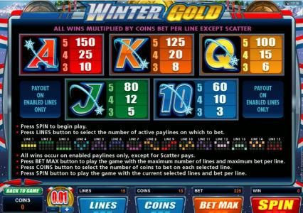 Thrills featuring the Video Slots Winter Gold with a maximum payout of $20,000