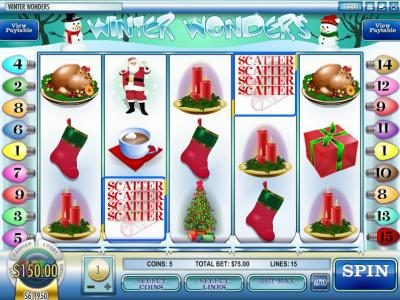 24 Vip featuring the Video Slots Winter Wonders with a maximum payout of $2,500
